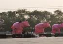 Le foto delle statue degli elefanti coperte in Uttar Pradesh