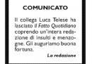 Il saluto del Fatto a Luca Telese che lascia il giornale