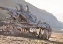 L'enorme teschio di drago sulla spiaggia nel Dorset