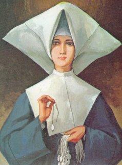 Catherine Labouré con le sue medagliette.