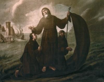 Tre uomini in saio, attraverso lo stretto di Messina.