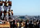"""La """"torre umana"""" a Roma per chiedere il referendum sull'indipendenza della Catalogna"""
