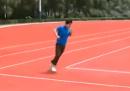 La pista di atletica rettangolare in Cina