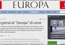 """La chiusura di """"Europa"""" (di carta)"""