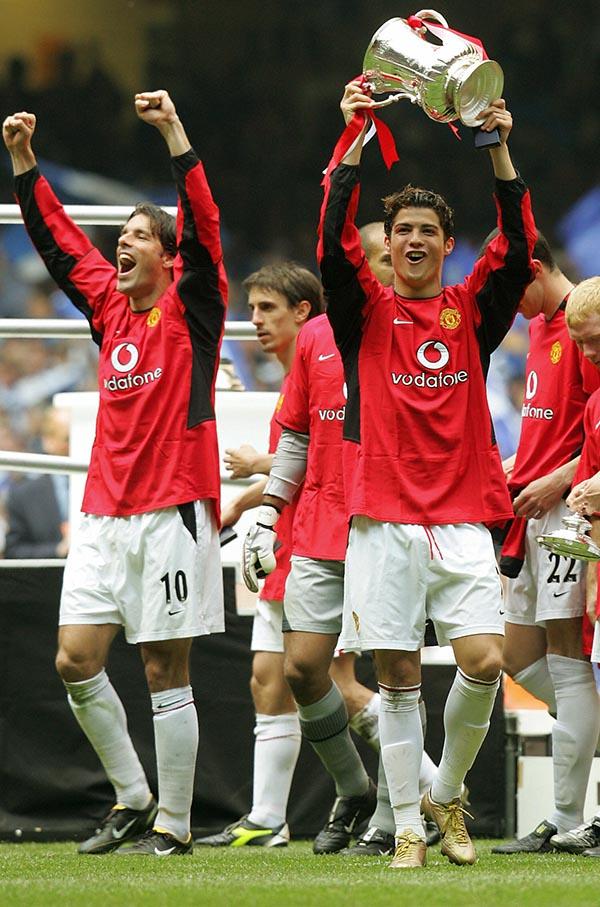 Manchester United's goal scorers Ruud Va