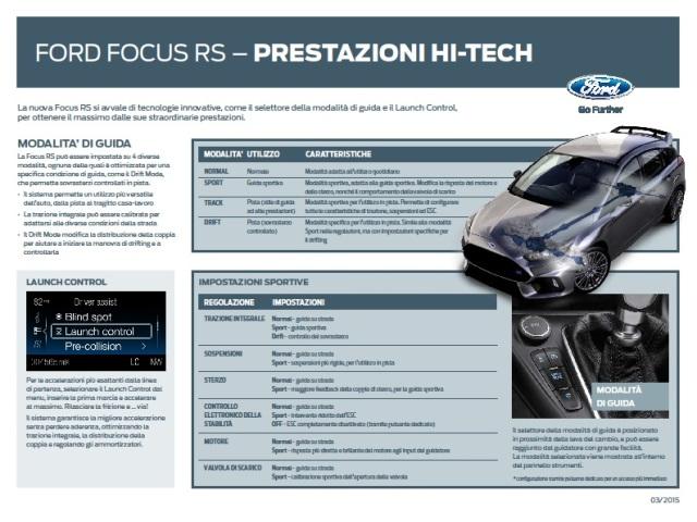 Ford Focus RS - Modalità di guida