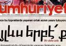 La prima pagina del giornale turco