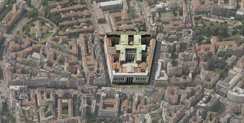 Il Palazzo di Giustizia di Milano (Bing Maps)