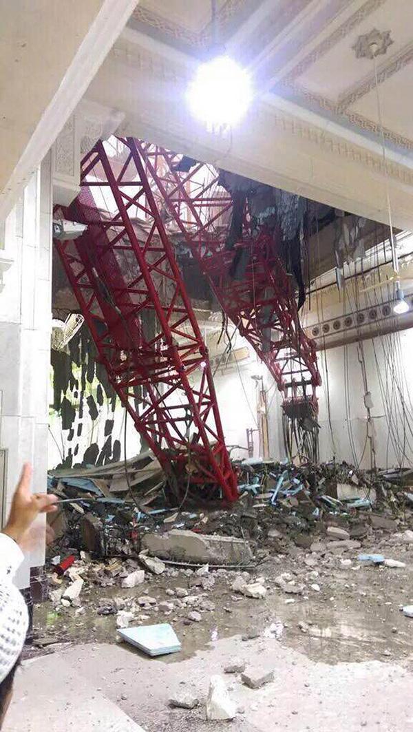Crane collapses on Grand Mosque in Mecca, Saudi Arabia