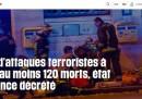 Le homepage dei siti francesi sugli attentati di Parigi