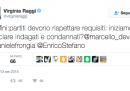 È riemerso un vecchio tweet di Virginia Raggi