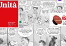 La prima pagina dell'Unità con un fumetto di Staino sui problemi dell'Unità