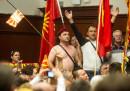 Le foto dell'irruzione al Parlamento macedone