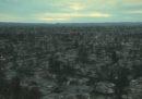 Un quartiere californiano distrutto dagli incendi, visto dall'alto