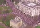 I partecipanti alla manifestazione contro Brexit a Londra, visti dall'alto