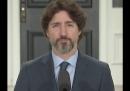 Il lungo silenzio di Justin Trudeau in risposta a una domanda sulla gestione delle proteste negli Stati Uniti da parte di Donald Trump