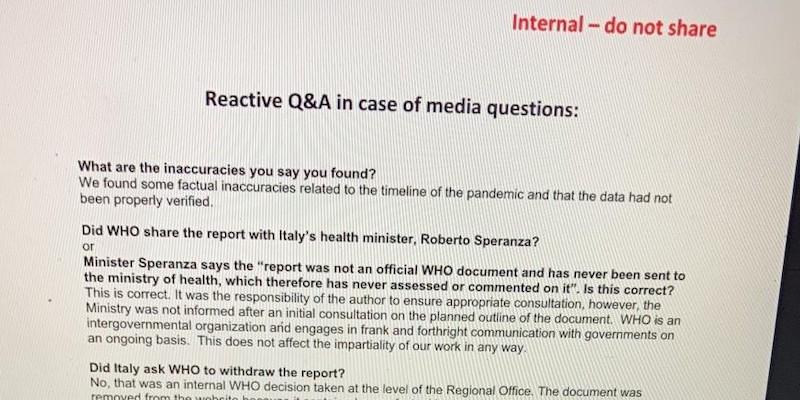 L'OMS ha indicato ai suoi dipendenti come rispondere sul piano pandemico italiano