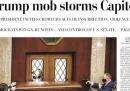 Le prime pagine dei giornali americani sull'attacco al Congresso