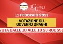 Il voto sulla piattaforma Rousseau sul sostegno al governo Draghi si terrà domani