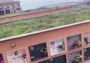 Il video del crollo di una parte del cimitero di Camogli, in Liguria